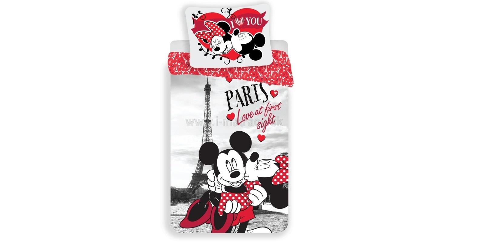 Obliečky Mickey and Minnie in Paris I love you